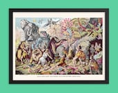 Prehistoric Poster: Cave Dwellers Contend with Prehistoric Monsters Antique Reproduction, Cavemen Animals Mammoth Pterodactyl Lion Hippo Art