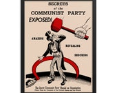 Secrets of the Communist Party Exposed! Poster, Retro Red Scare Reproduction, Hammer and Sickle, Uncle Sam Communism Leftist Wall Art, Gift