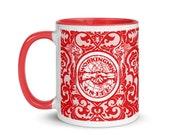 Leftist Mug: Workingmen Unite! Red Interior | Edwardian Socialism, Retro Socialist Gift, Leftist Communist Anti-Capitalist Pro-Labor Ceramic