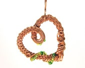 Intricate Raw Copper with Green Glass Beads Wire Wrapped Heart Pendant, Romantic Gift, Handcrafted Jewelry, Pure Copper, Necklace