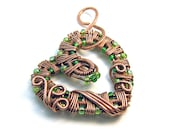 Intricate Raw Copper & Green Glass Beads Wire Wrapped Heart Pendant,  Romantic Gift, Handcrafted Jewelry, Pure Copper, Necklace