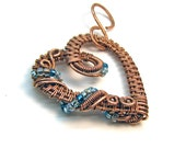 Intricate Raw Copper with Light Blue Glass Beads Wire Wrapped Heart Pendant, Romantic Gift, Handcrafted Jewelry, Pure Copper, Necklace