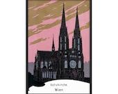Austria Poster: Votive Church, Vienna Unframed   Reproduction Edwardian Votivkirche, Wien Wall Art Travel Religious Neo-Gothic Architecture