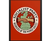 Socialist Poster: Socialist Party | Workers of the World Unite | Retro Edwardian Socialism, Leftist, Socialist Wall Art Gift