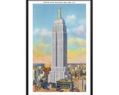 NYC Poster: Retro Empire State Building Unframed   New York City   1930s Reproduction Wall Art Travel Gift