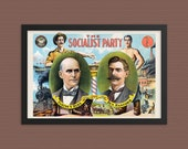 Socialist Poster: 1904 Socialist Party Presidential Campaign Poster Reproduction | Eugene V. Debs, Ben Hanford, Retro Socialism Wall Art