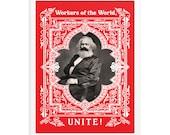 Leftist Poster: Workers of the World Unite! Karl Marx    Retro Marxist Unframed Poster Socialist Communist Anti-Capitalist Pro-Labor Art