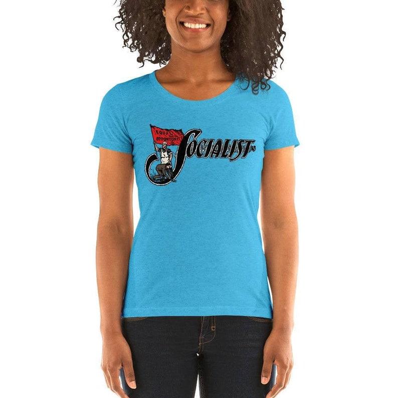 Socialist T-Shirt: Socialist Flag  Retro Leftist Shirt Aqua Triblend