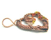 Intricate Raw Copper with Orange & Yellow Glass Beads Wire Wrapped Heart Pendant, Romantic Gift, Handcrafted Jewelry, Pure Copper, Necklace