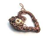 Heart and Skull Intricate Raw Copper & Bead Wire Wrapped Pendant,  Romantic Gift, Handcrafted, Pure Copper, Goth Necklace Creepy