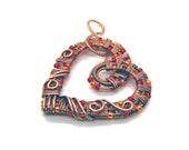 Intricate Raw Copper & Red and Orange Glass Beads Wire Wrapped Heart Pendant, Romantic Gift, Handcrafted Jewelry, Pure Copper, Necklace