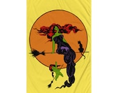 """Witchy Flag, Retro Elegant """"Modern"""" Witch   5x3 foot Edwardian Halloween Occult Spooky, with Moon, Bat Winged Cherub and Black Cat Flag"""