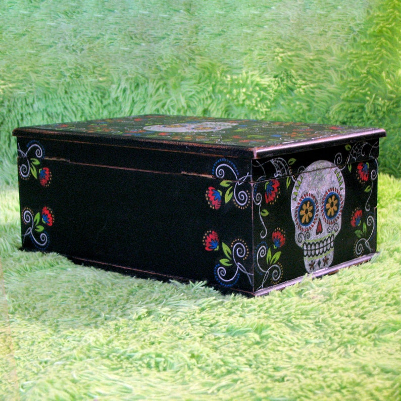 Large Colorful Sugar Skull Upcycled Vintage Jewelry Box Handpainted Decoupaged Distressed Calavera Goth Mexican Inspired Gift for Women