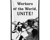 Workers Flag: Worker Smashing the Chains of Oppression   Workers of the World Unite! 5x3 Foot Retro Socialist Communist Leftist Pro-Labor