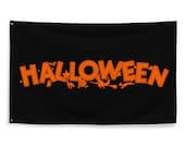 Halloween Flag, Retro 3x5 foot Witch Bats Cats Jack-o-Lantern Owl   Scary Spooky Halloween Orange and Black Witch Flying on Broom