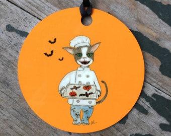 Halloween Ornament - Cookie Baking Tuxedo Cat - Round Aluminum Holiday Christmas Tree Ornament - Halloween Cookie Cat - Cat Chef Ornament