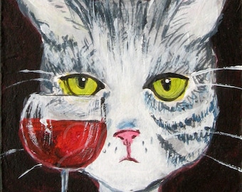 Gray Tabby Cat with Wine Print - Cat Wall Art - Funny Cat Art - Edith Has Issues Print - Cat Gift Idea - Gift For Cat Lover - Cat with Wine