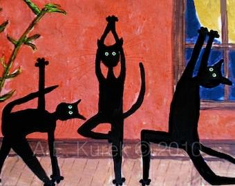 Black Cat Art - Yoga Cat Print - Yoga Wall Art - Cat Print - Yoga Art - Yoga Gift - Cat Lover Gift - Funny Cat Art - Yoga Cat Illustration