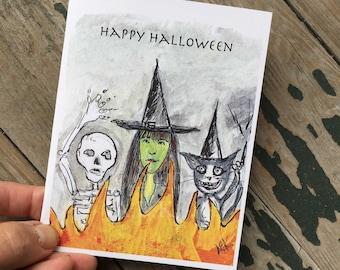 Creepy Halloween Card _ Cat Witch Skeleton Halloween Card - Halloween Cat Card - Happy Halloween