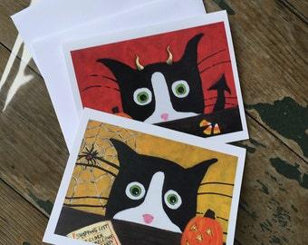 Cat Halloween Cards - Funny Blank Halloween Cards- Silent Mylo Tuxedo Cat - Cat  Art - Devil Cat - Halloween Cat