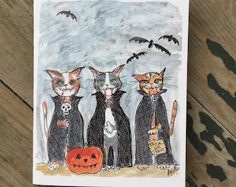 Vampire Cat Halloween Card _ Vampire Cats with Pumpkins Halloween Card - Halloween Cat Card - Happy Halloween
