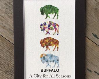 Matted Buffalo Four Seasons Print - City for All Seasons Print -  5x7 Matted Buffalo 4 Seasons Print - Buffalo Art Work - Buffalo Gift