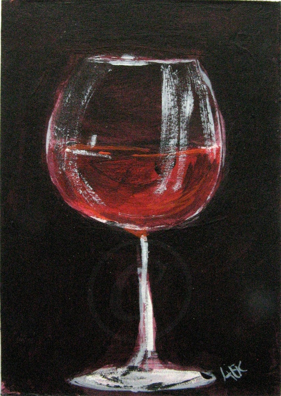 Red Wine Glass Painting Wine Art Original Aceo Acrylic Etsy