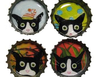 Crazy Cat Magnets - Funny Tuxedo Cat  Art - Bottle Cap Magnets - Set of 4 - Silent Mylo Tuxedo Cat - Gift for Cat Lover - Cat Gifts
