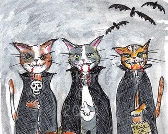 Halloween Art - Vampire Kitties Wall Art - 5x7 Print - Kid's Room Wall Art - Vampire Cat Print - Halloween Decor - Halloween Wall Art