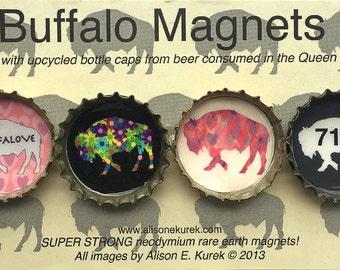 Buffalove 716 Buffalo Magnets - Buffalo Art - Bottle Cap Magnets - Gift Set of 4 -  Buffalo NY - Buffalo Gift - Pink and Gray 716