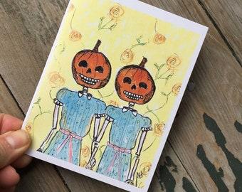 Shining Twins Pumpkin Halloween Card - Creepy Halloween Card - Pumpkin Halloween Card - Gothic Halloween Card