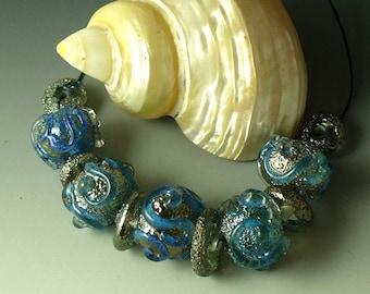 Lampwork beads/SRA lampwork/beads/handmade beads/silver/blue/metallic/frit/ice cave/