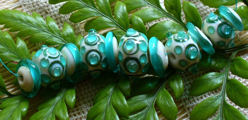 SRA Lampwork Handmade Glass Beads by Catalinaglass  Teal Jewels