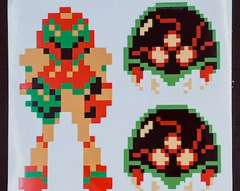 Metroid and Samus Pixelated Sticker Pack  // Video Game Stickers // Nintendo Stickers // Car Decals // Kiss Cut Vinyl Stickers