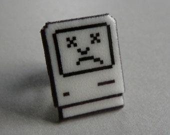 tragic icon - sad mac apple pin