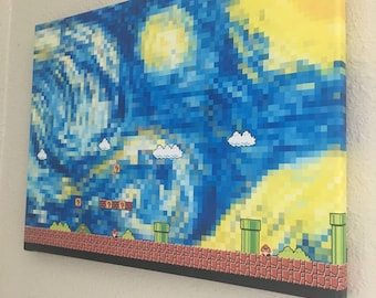 starry night in super mario world - wrapped canvas print wall art 20x16