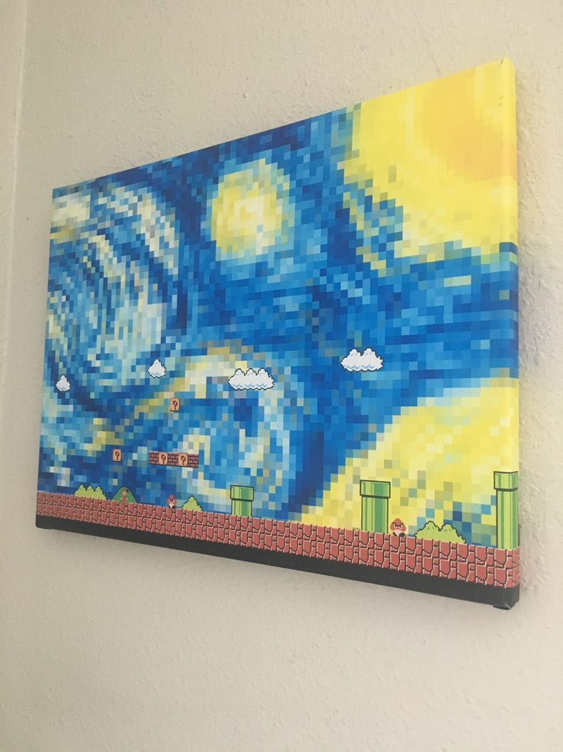 starry night in super mario world  wrapped canvas print wall image 0