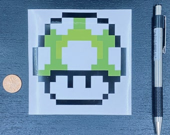 1UP Mushroom Super Mario Sticker  // Video Game Sticker // Super Nintendo Stickers // Car Decals // Kiss Cut Vinyl Stickers