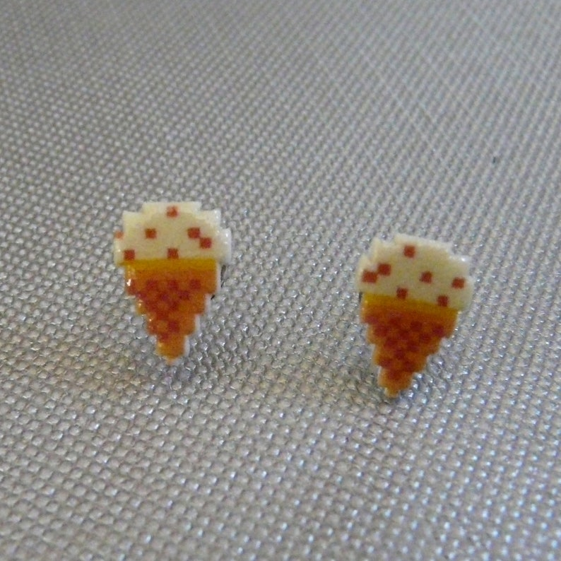 pixel cone  burger time ice cream cone stud earrings image 0