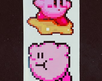 Kirby Pixelated Sticker Pack  // Video Game Stickers // Nintendo Stickers // Car Decals // Kirby Star Kiss Cut Vinyl Stickers