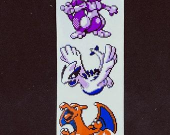 Pokemon Mewto Charizard Lugia Pixelated Sticker Pack // Legendary Pokemon Stickers // Nintendo Car Decals // Kiss Cut Vinyl Stickers