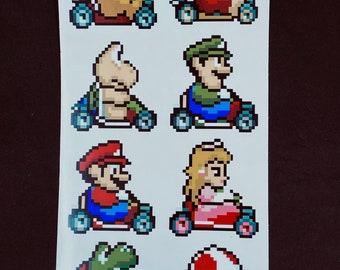Super Mario Kart Pixelated Sticker Pack  // Super Mario Video Game Stickers // Nintendo Stickers // Car Decals // Kiss Cut Vinyl Stickers