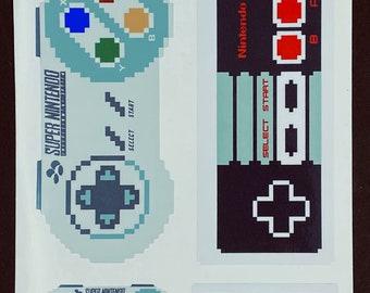 Nintendo NES/SNES Controller Pixelated Sticker Pack  // Video Game Controller Stickers // Nintendo Stickers // Car Decals // Vinyl Stickers