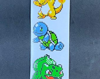 Pokemon Starter Pixelated Sticker Pack  // Pokemon Stickers // Nintendo Stickers // Car Decals // Charmander Bulbasaur Squirtle