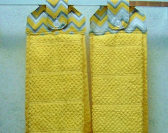 hanging cloth top kitchen hand towels yellow and gray chevron print larger yellow towels set of 2 - Kitchen Hand Towels