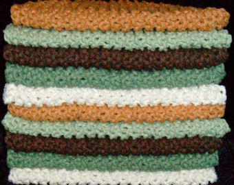 BUNDLE OF 10 - Earth Tone Colors - Knitted Cotton Dish Cloths