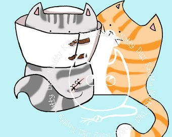 Digi Stamp Instant Download. Cone of Shame - Knitty Kitty Digis No. 33