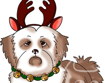 Digi Stamp Instant Download. Festive Lhasa Apso - Knitty Kitty Digis No.74