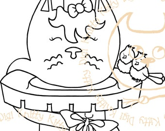 Digi Stamp Instant Download. Catpunzel - Knitty Kitty Digis No. 63 A&B
