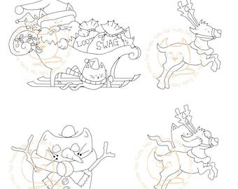 Digi Stamp Instant Download. Build a Snow Scene Quartet 2 (SantaPaws, Prancer, Dasher and SnowcatToo)- Knitty Kitty Digis No.58 ABC&D